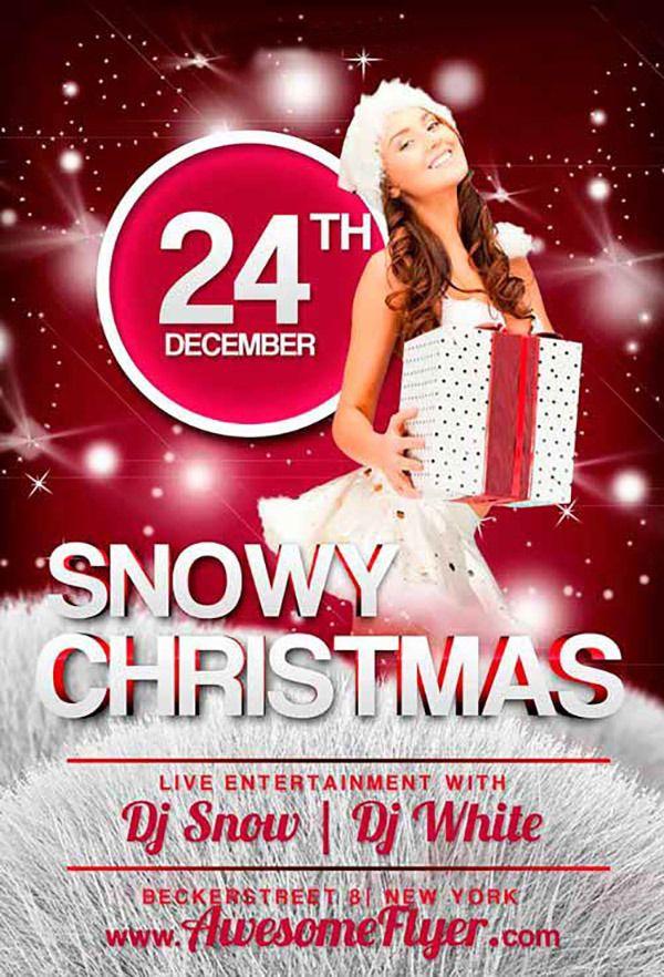 Snowy Christmas Free Psd Flyer Template Free Psd Files Pinterest