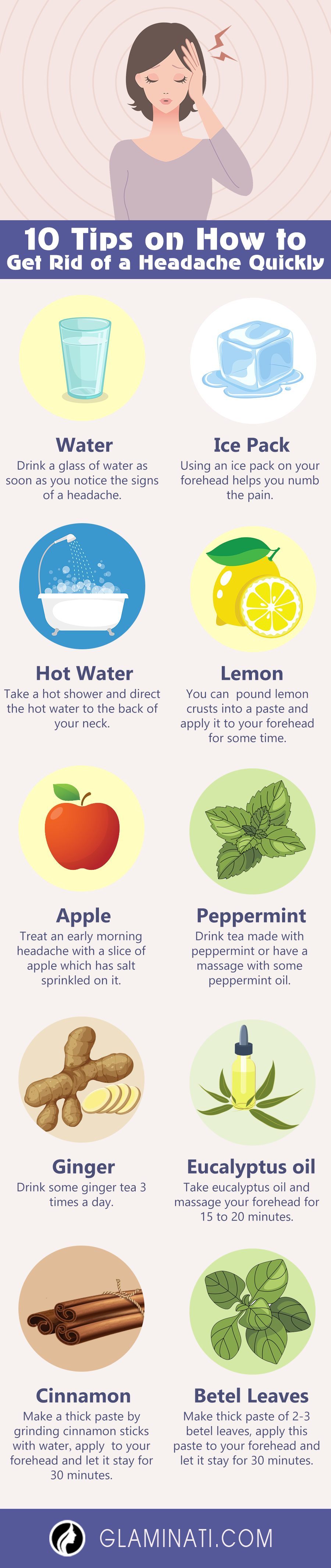 10 tips on how to get rid of a headache quickly - infographic
