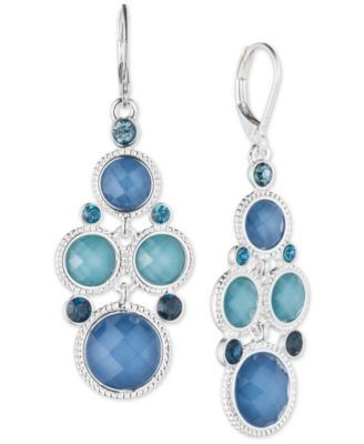 Nine West Silver-Tone Blue Stone and Crystal Chandelier Earrings ...