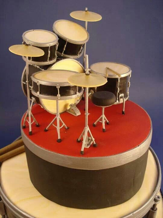 Excellent Drum Set Fondant Cake With Images Birthday Cakes For Men Funny Birthday Cards Online Bapapcheapnameinfo