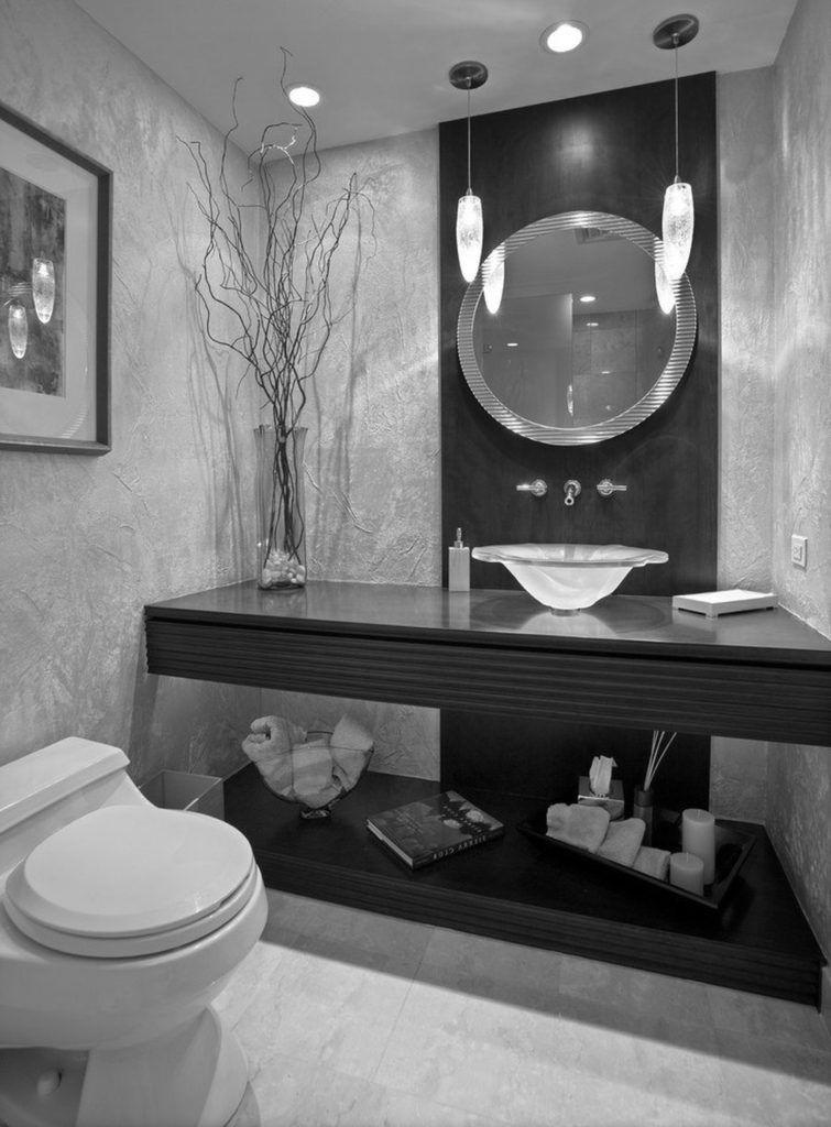 Black White Silver Guest Bathroom Decor Bathroom Decor