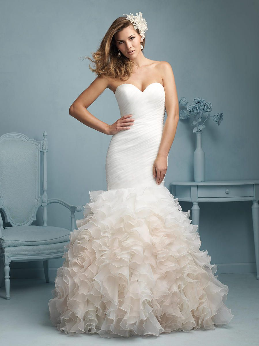 807a1edf138a Stunning Allure Bridal wedding gown. Ruffle bottom skirt and fitting  throughout.