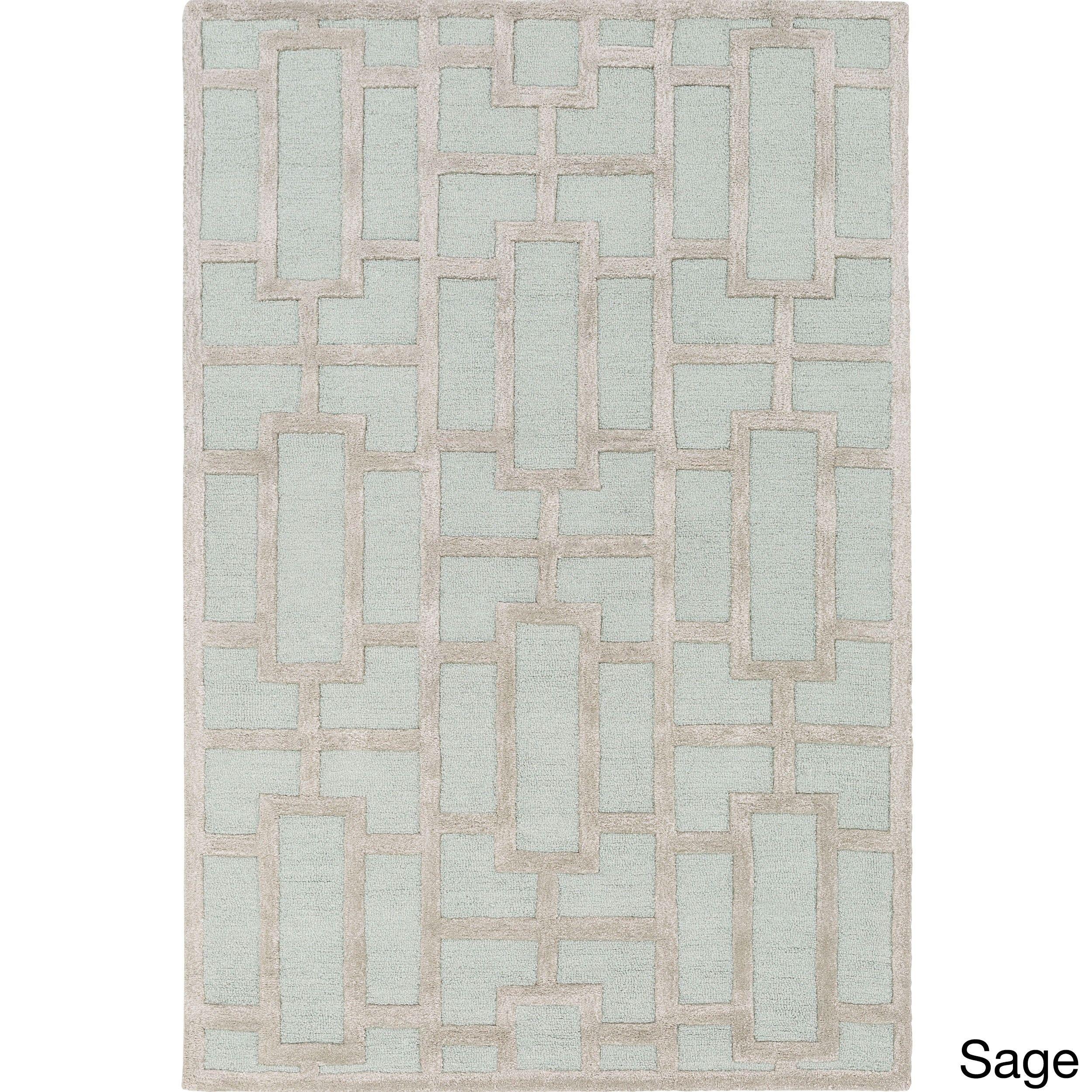 Hand Tufted Geometric Wool Rug 9 X 13 Sage Green Light