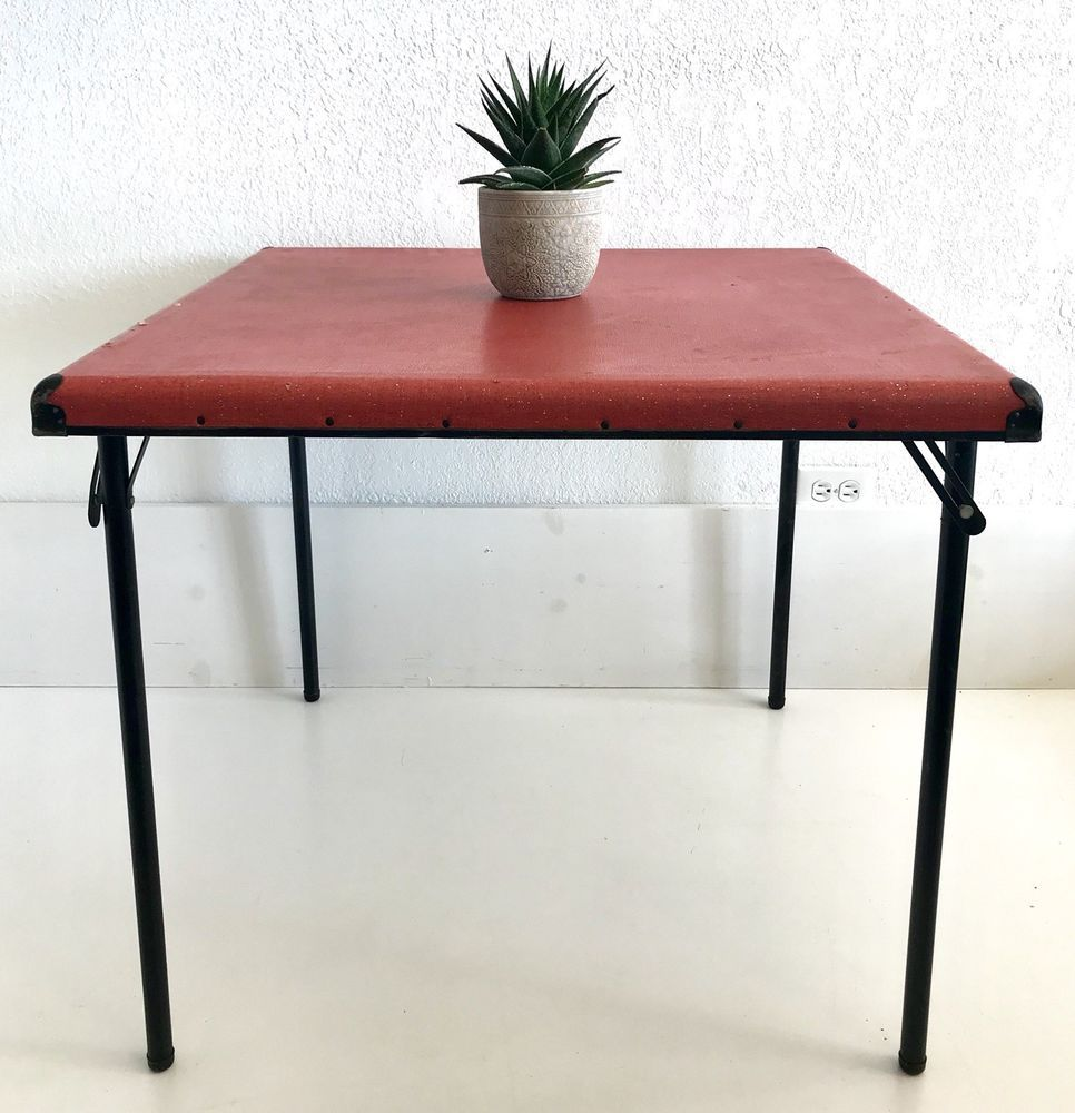 mcm samsonite folding card table red craft kids kitchen