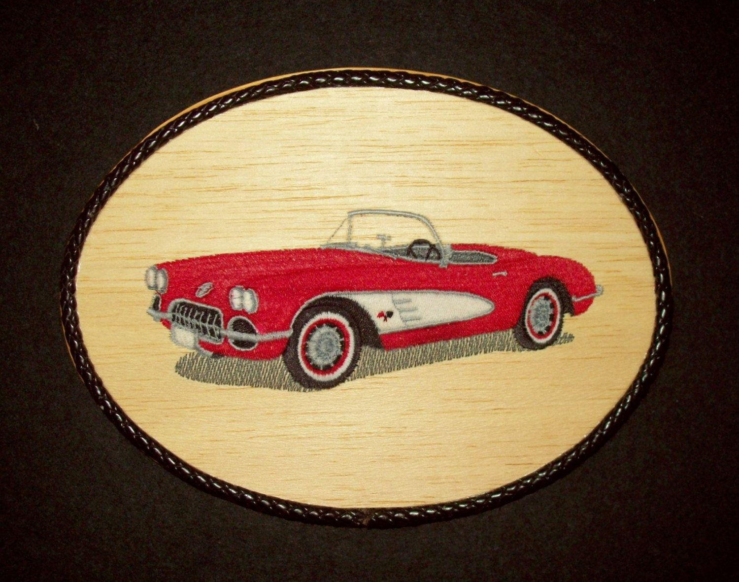 Classic 1960 Corvette Wall Decor /Embroidery on Balsa Wood by ...