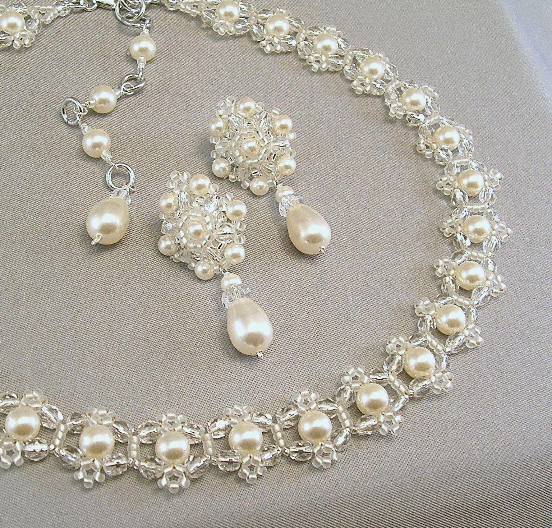 Novia Boda Blanco Perlas Collar Gargantilla Vintage de Estilo Victoriano UK