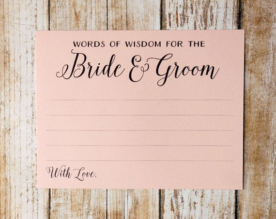 Words Of Wisdom For The Bride And Groom Blush By Decocards