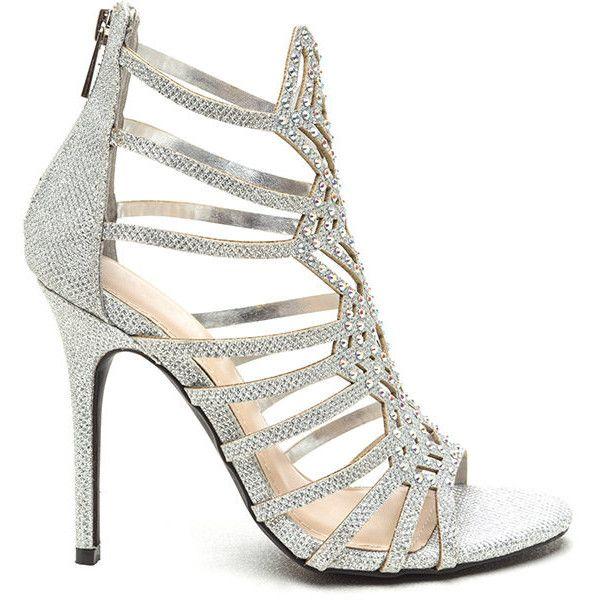 hot sale utterly stylish amazon Strappy Framework Metallic Heels SILVER ($35) ❤ liked on ...