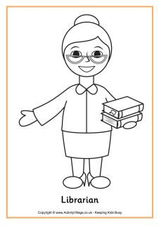 Librarian colouring page | Librarian | School coloring pages ...