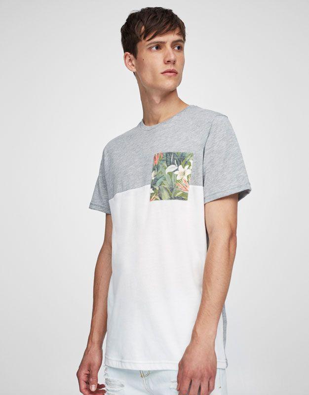 Camiseta bolsillo estampado flores - Camisetas - Ropa - Hombre - PULL&BEAR  Colombia
