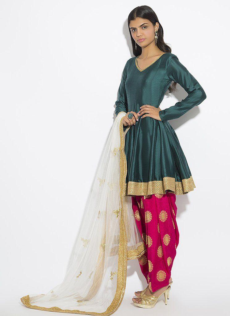 Teal and Pink Peplum Style Punjabi Suit | Simple pakistani dresses, Kurti designs party wear ...