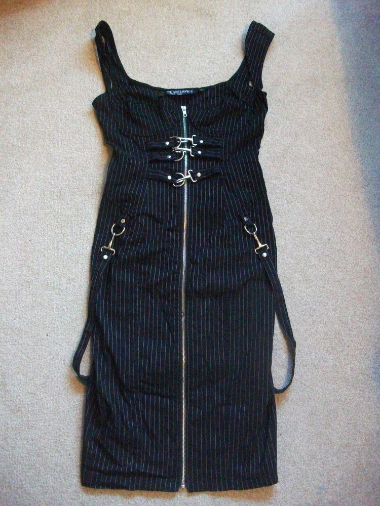 LIP SERVICE Gangsta Pranksta cyber/goth bondage dress, black pinstripe , Sz XL