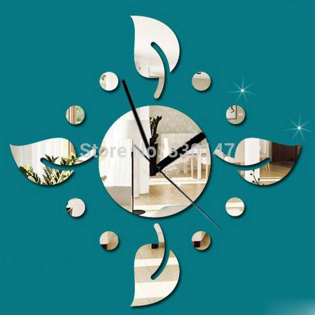 b0841ba525d Novo Mural Folha Rodada Espelho de Cristal DIY Relógio de Parede Acrílico  Espelhado Adesivos Decorativos Relógio Sala de estar Decoração 3D 47x47 cm