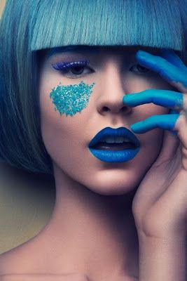 Would you dare to try this bold in blue 'Makeup As Art' look?