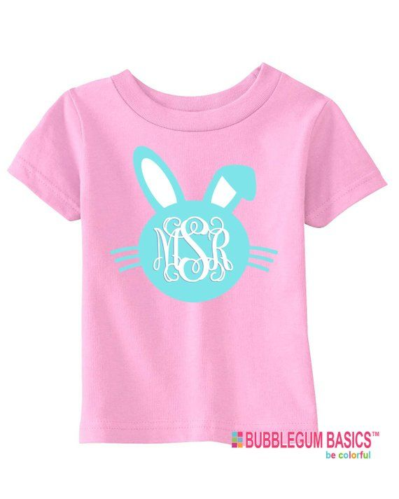 7b0c896af Personalized Girls or Boys Easter Bunny Monogram T Shirt Tee Holiday Event  Birthday Baby Shower ones