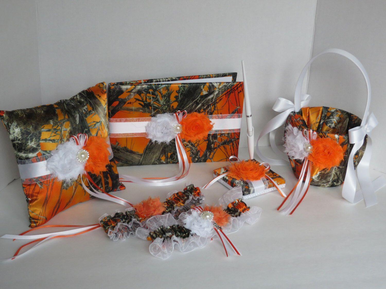Camo and orange wedding dresses  Camo Wedding Set Wedding Flower Girl BasketWedding Pillow Guest