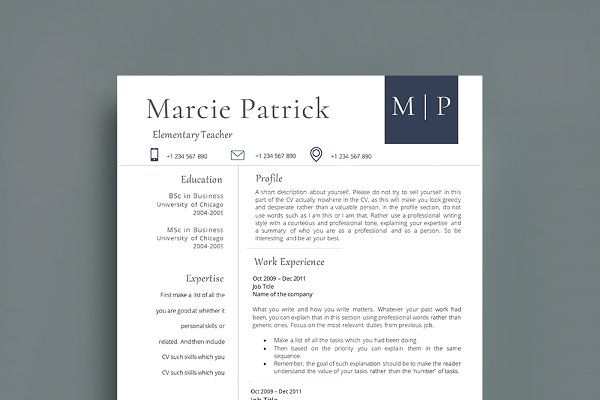 Professional ResumeCv Template  Resume