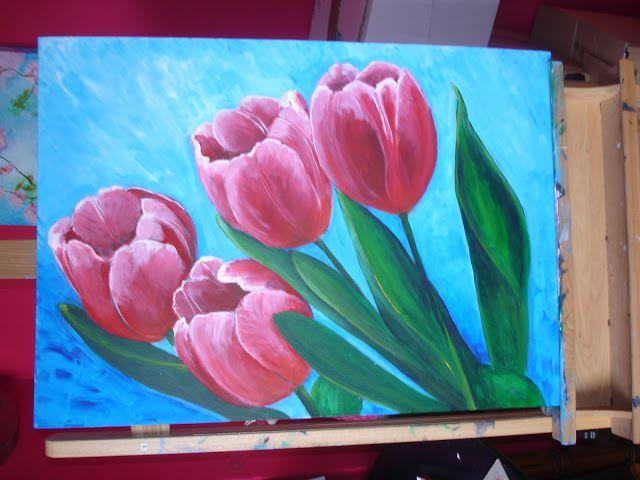 Dinah Creatief: schilderij tulpen