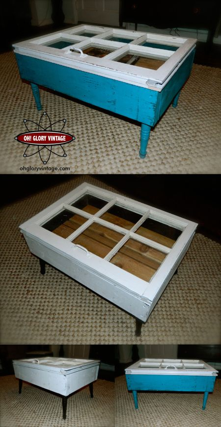 old Windows or glass cabinet doors repurposed as a coffee ...