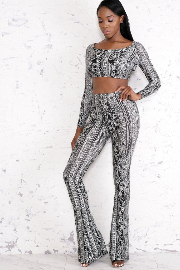 Cropped Top - Long Sleeves - Criss Cross Tie Back - Matching Bell Bottom  Pants - Paisley Print - 95% Rayon - 5% Spandex - Hand Wash Cold - Do Not  Bleach ... 7e91a507b