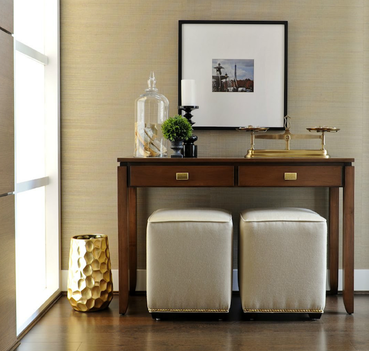 Twenty One Two: Contemporary Foyer With Gray Grasscloth Wallpaper, Warm Wood  Contemporary Console Table