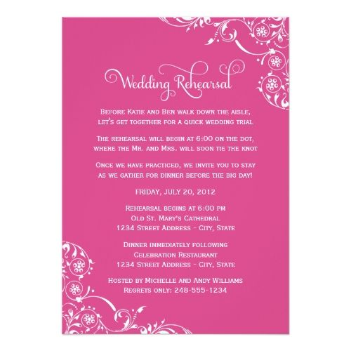 Formal Dinner Rehearsal Dinner Invitations Wedding Rehearsal | Magenta Pink Scroll Card