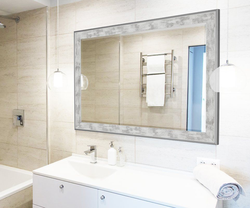 Scratched Wash White And Brushed Silver Trim Wall Mirror Mirror