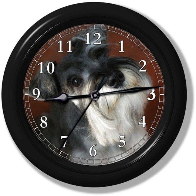 Miniature Schnauzer Wall Clock 274 From Clocks Galore Square Market Size 9 In Diameter Materials Black Plastic Frame Gl Clock Wall Clock Dog Decor