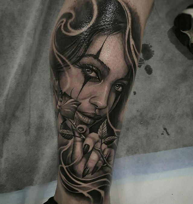 147d70d17 Clown girl by artist @tat2beny #blackandgrey #ink #tattoos #inksav ...