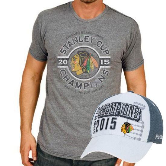 0ba17f58e36443 Chicago Blackhawks 2015 Stanley Cup Champions Shirt & Hat Combo Pack |  SportsWorldChicago.com #ChicagoBlackhawks