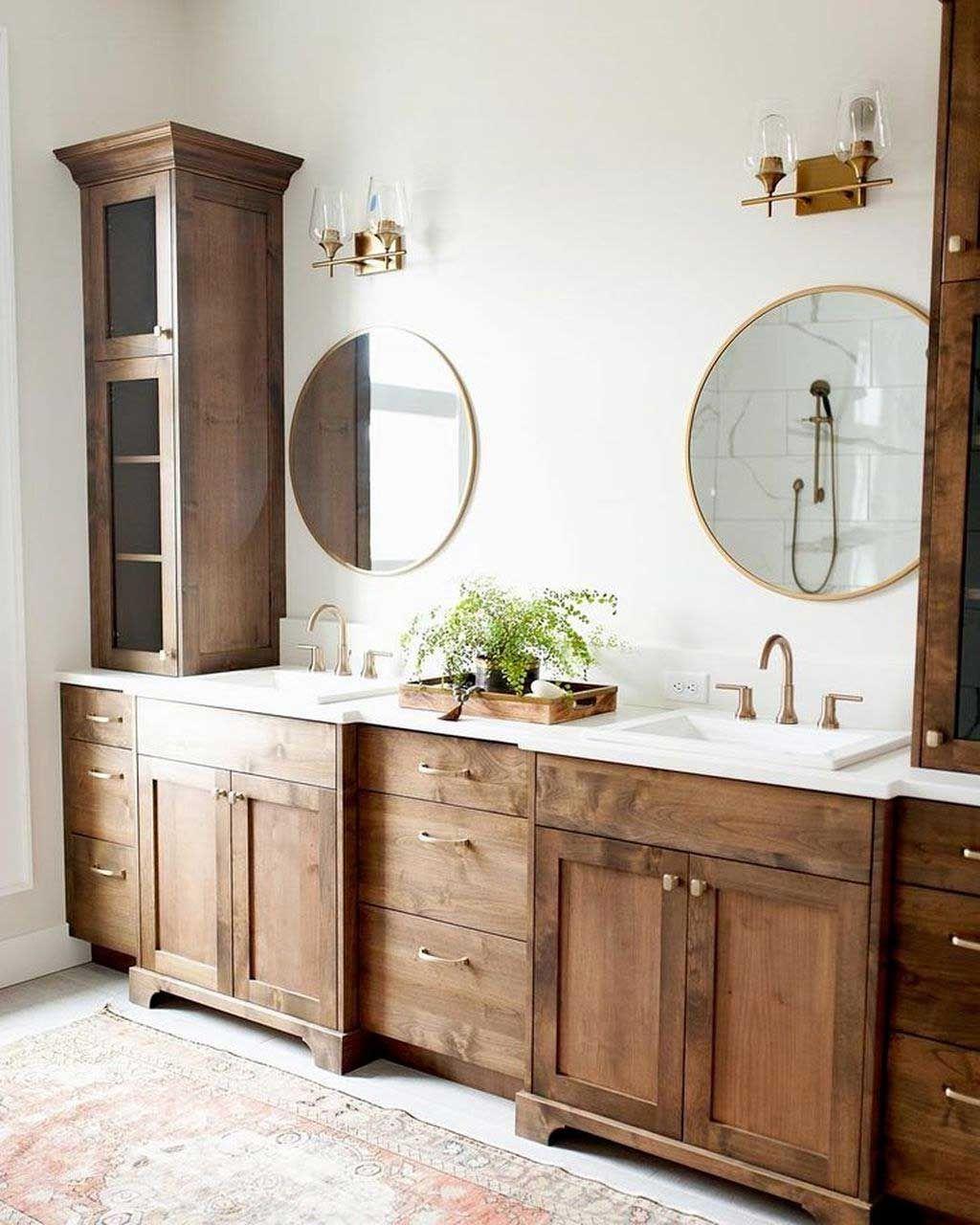 44 Low Cost Farmhouse Bathroom Design Ideas 05 With Lamp