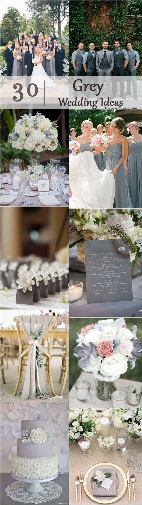 30 Timeless Grey and White Fall Wedding Ideas | Gray wedding colors ...