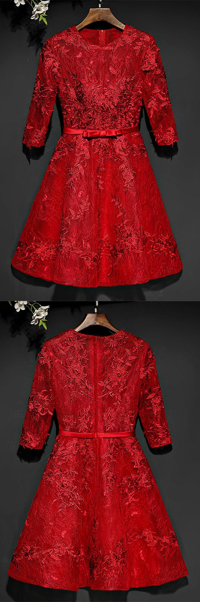 Short red lace a line party dress short with sleeves myx
