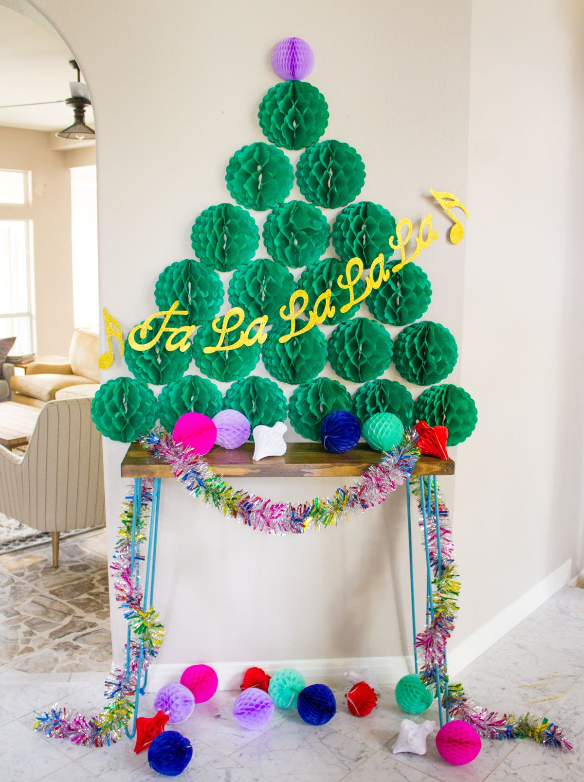 Make A Christmas Tree For Your Wall Out Of Honeycomb Balls