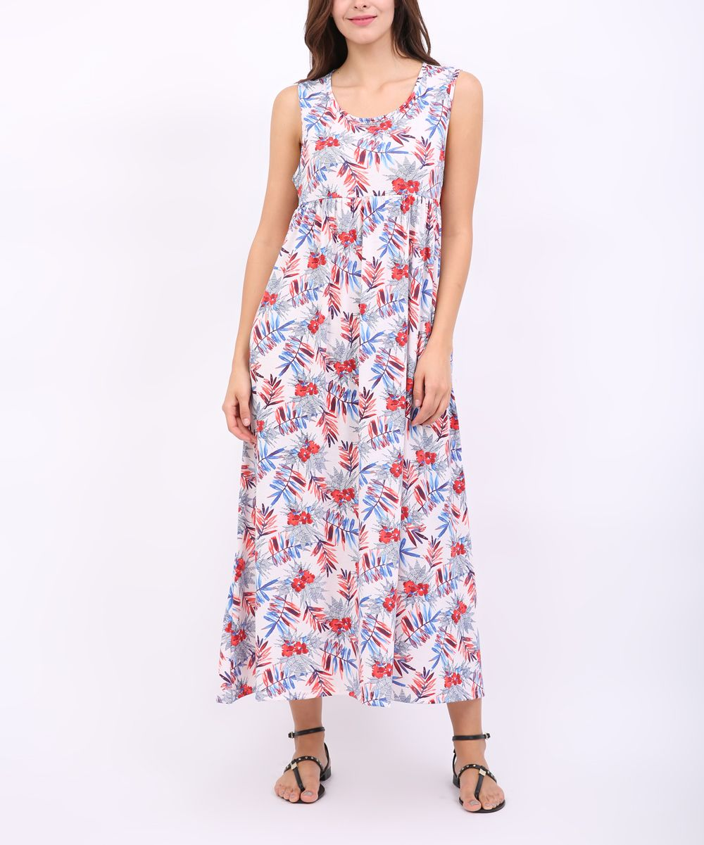 Blue u red floral empire waist maxi products pinterest