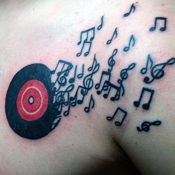 Vinyl Record Guys Tattoo Designs With Music Notes On Chest #style #shopping #styles #outfit #pretty #girl #girls #beauty #beautiful #me #cute #stylish #photooftheday #swag #dress #shoes #diy #design #fashion #Tattoo