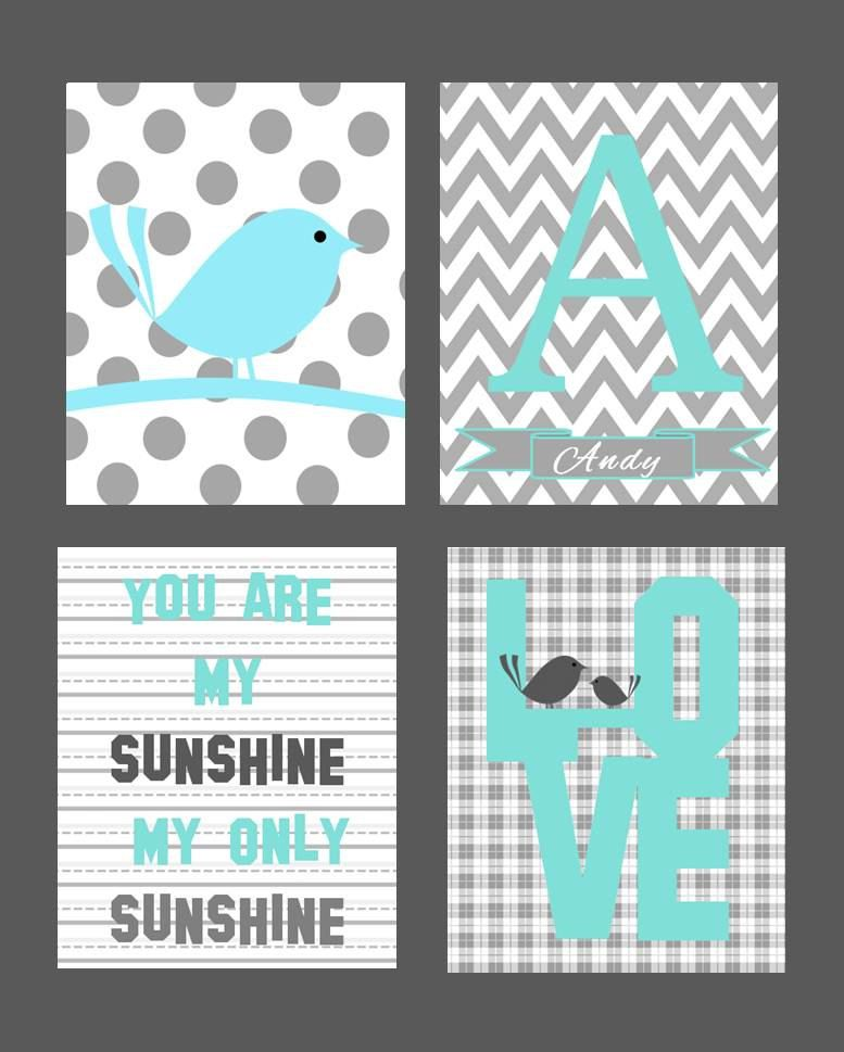 5 letter bird names nursery wall for boy or set of four 8x10 prints 20224 | a0940eb5b2de79eac1aa4764473c6201