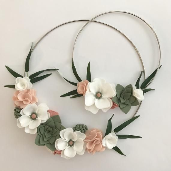 Felt Floral Wreath Modern Wreath Nursery Felt Wreath Set