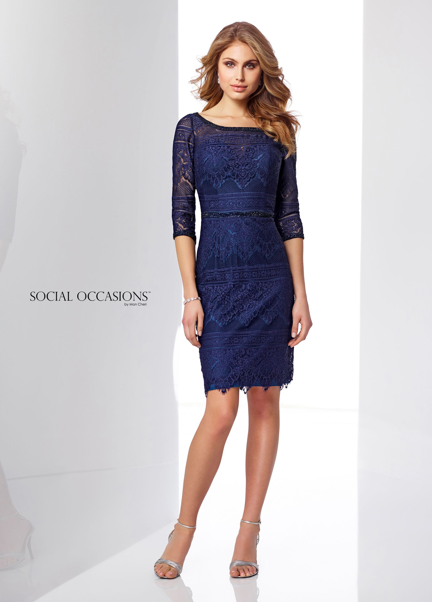 Lace over jersey kneelength sheath special occasions