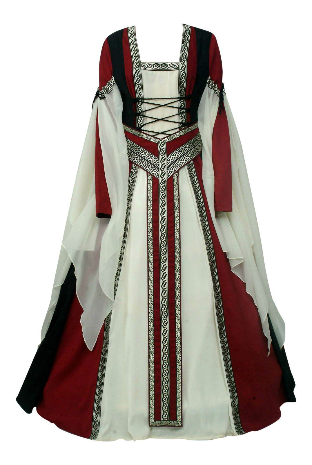 Maroon and cream wedding decor  Medieval renaissance tudor gown dress with removable y belt cream