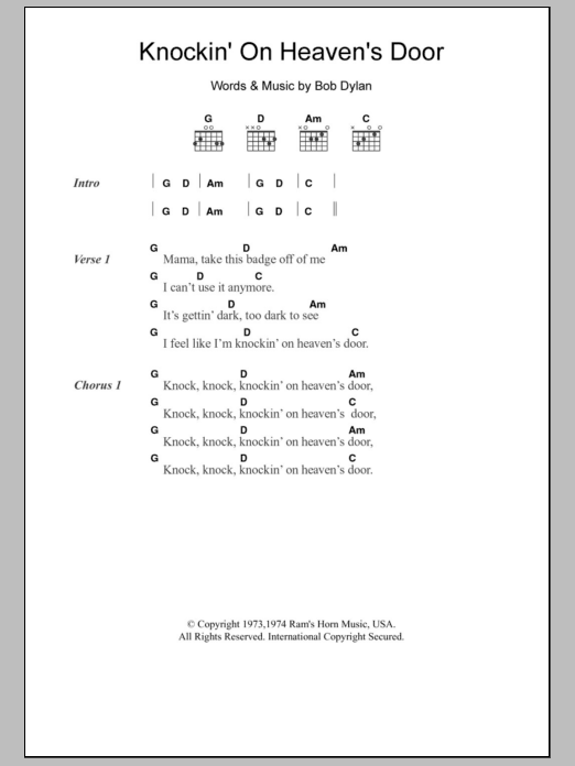 Knockinon Heavens Door Ukulele Chords Guitar In 2018 Pinterest
