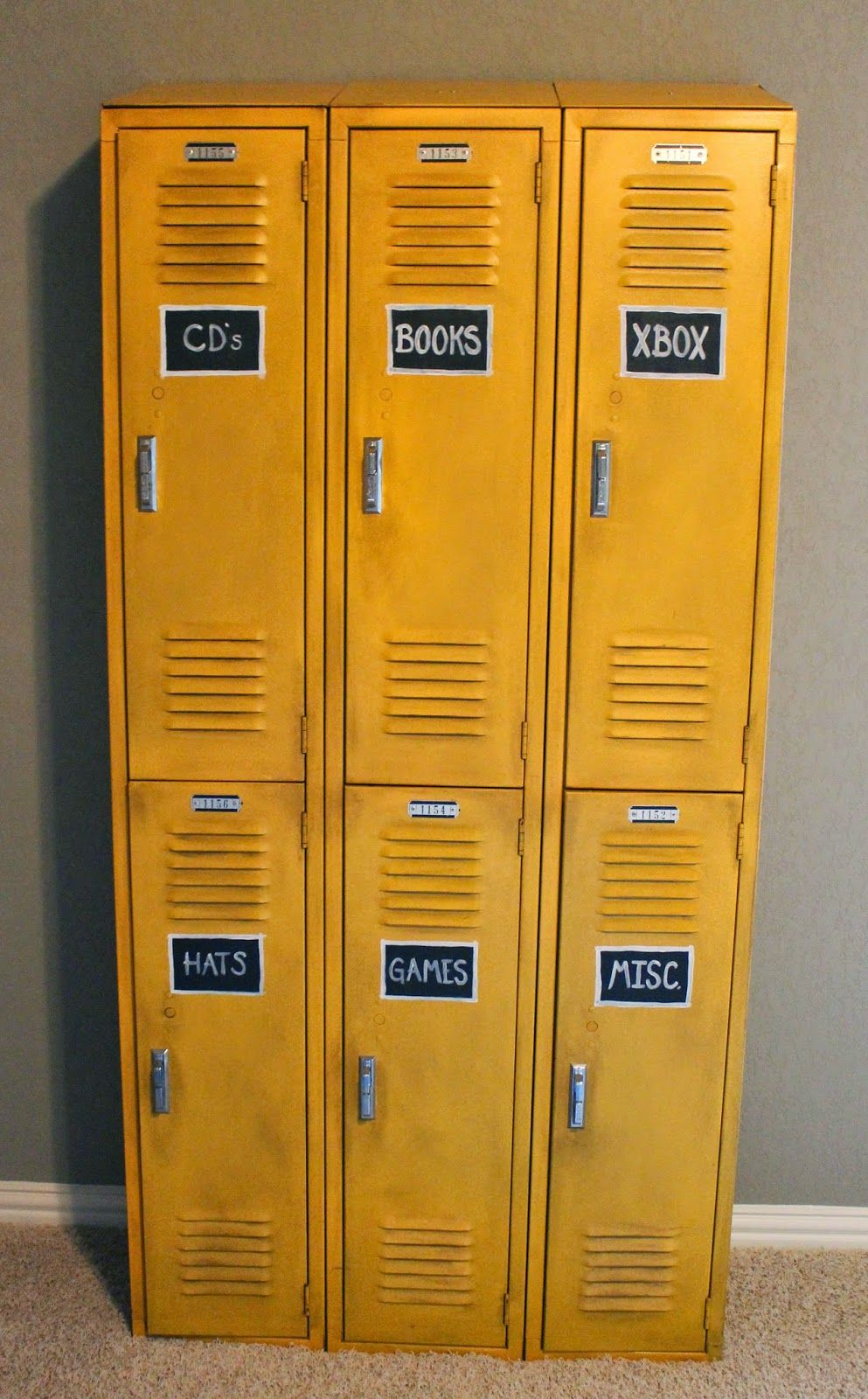 Antique Lockers Painted With A Glaze To Tone Down The