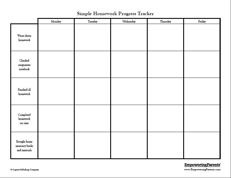 Simple Homework Chart - This chart is best for younger children or - weekly progress report template