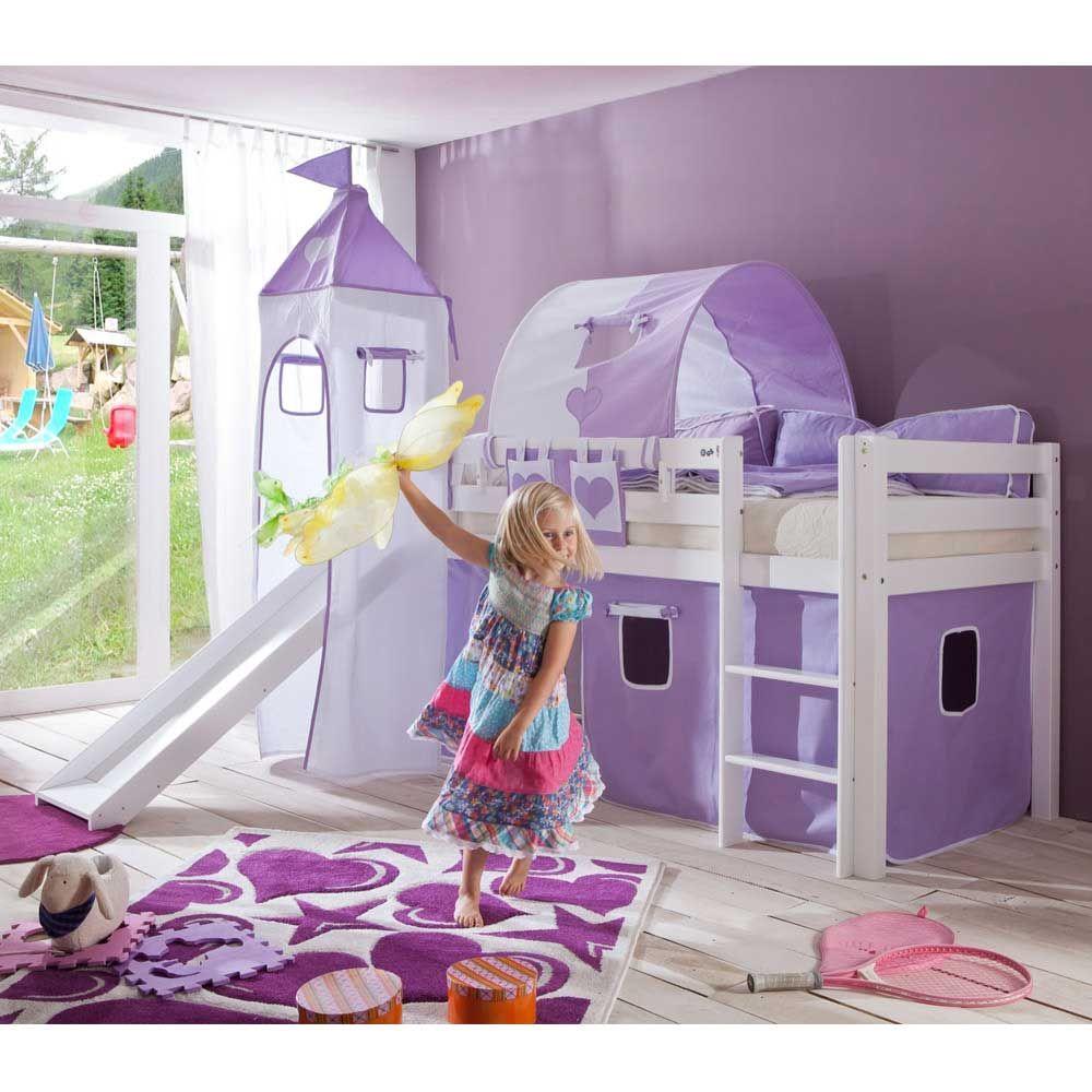 kinder spielbett in lila wei en textilien rutsche jetzt bestellen unter https moebel. Black Bedroom Furniture Sets. Home Design Ideas