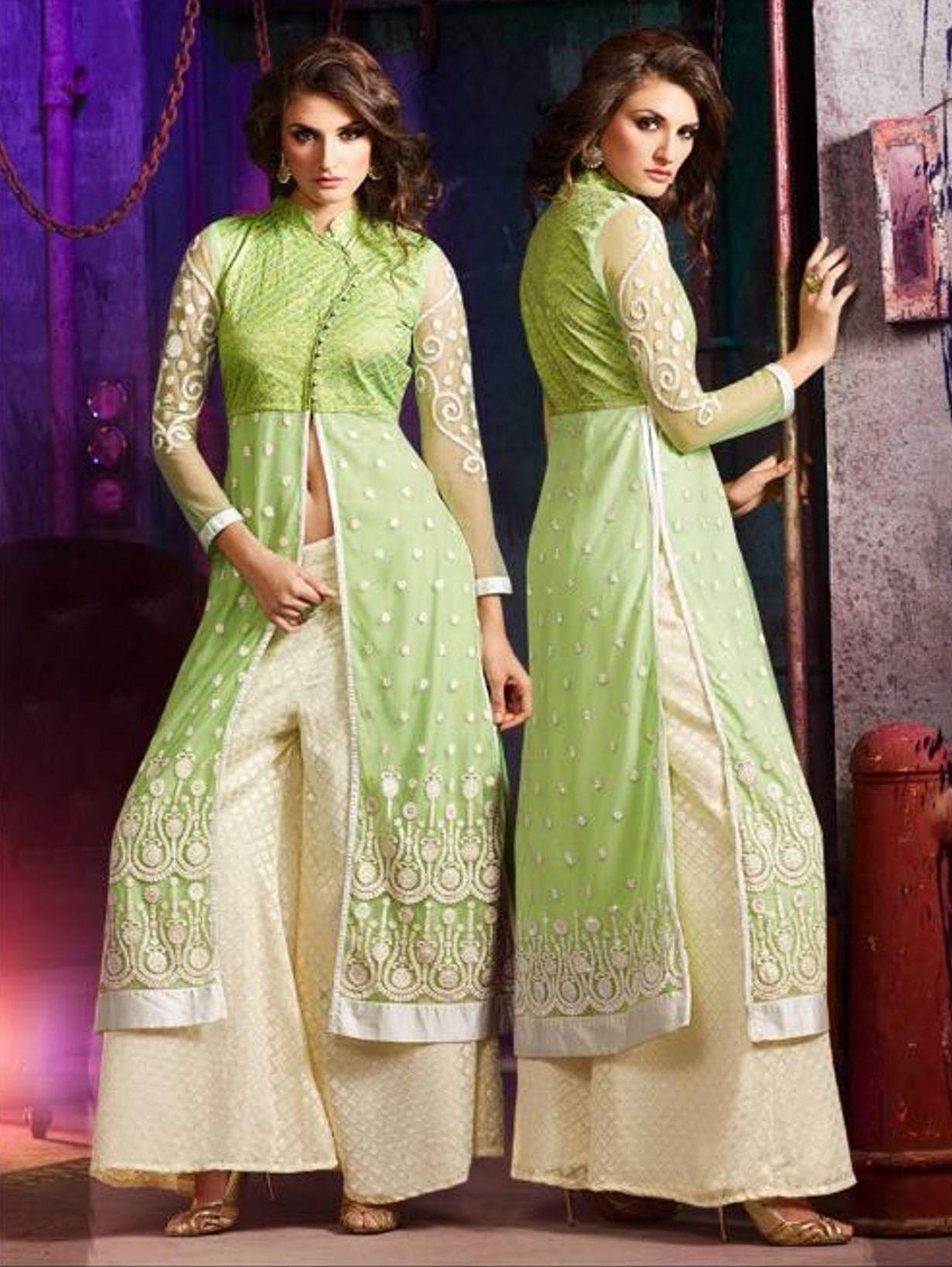 buy apparels pista green and cream colour silk net palazzo style