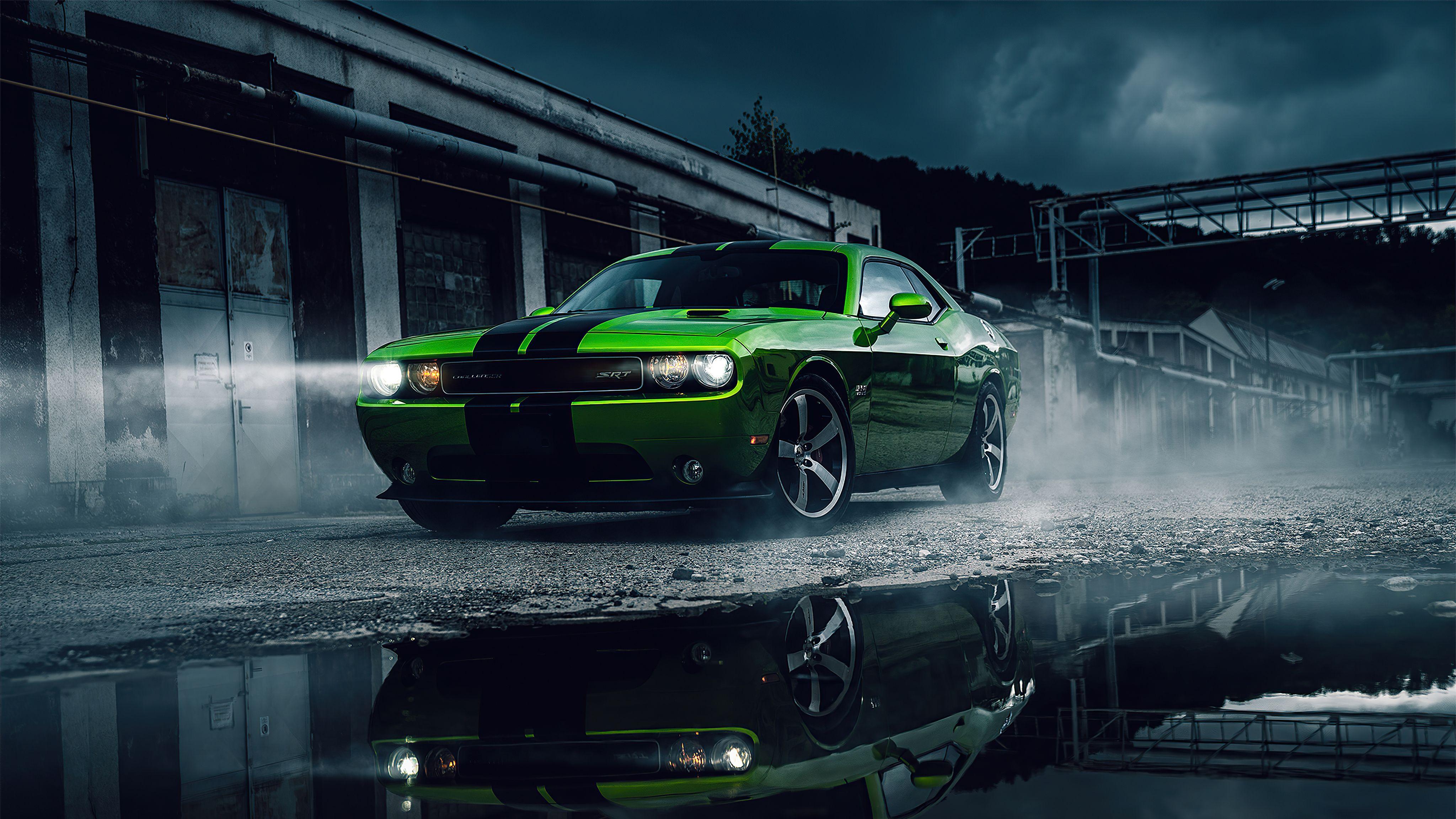 Green Dodge Challenger 4k Green Dodge Challenger 4k Wallpapers In 2021 Dodge Challenger Challenger Dodge