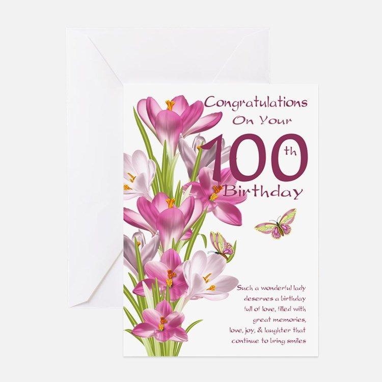 100th Birthday Pink Crocus Card Greeting Cards For Card