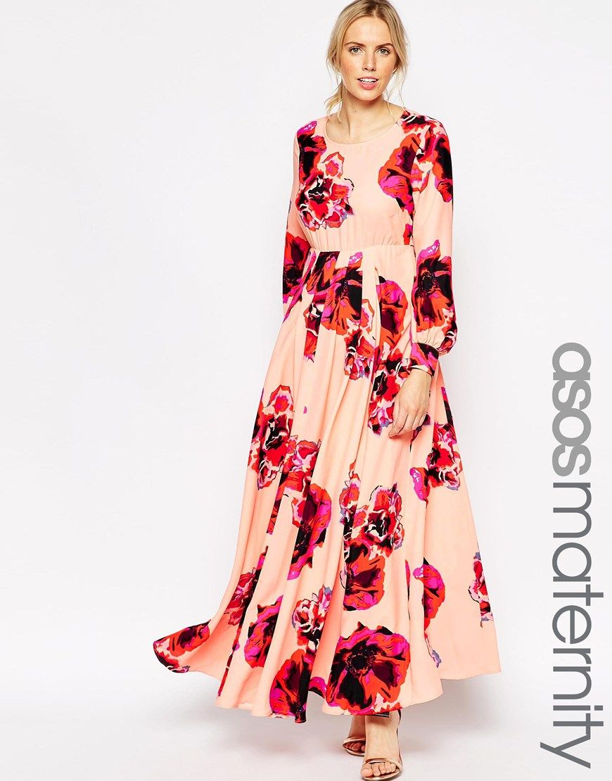 ad62eaf13ac1a Maternity Maxi Caftan Dress With Keyhole In Floral Print | maternity ...