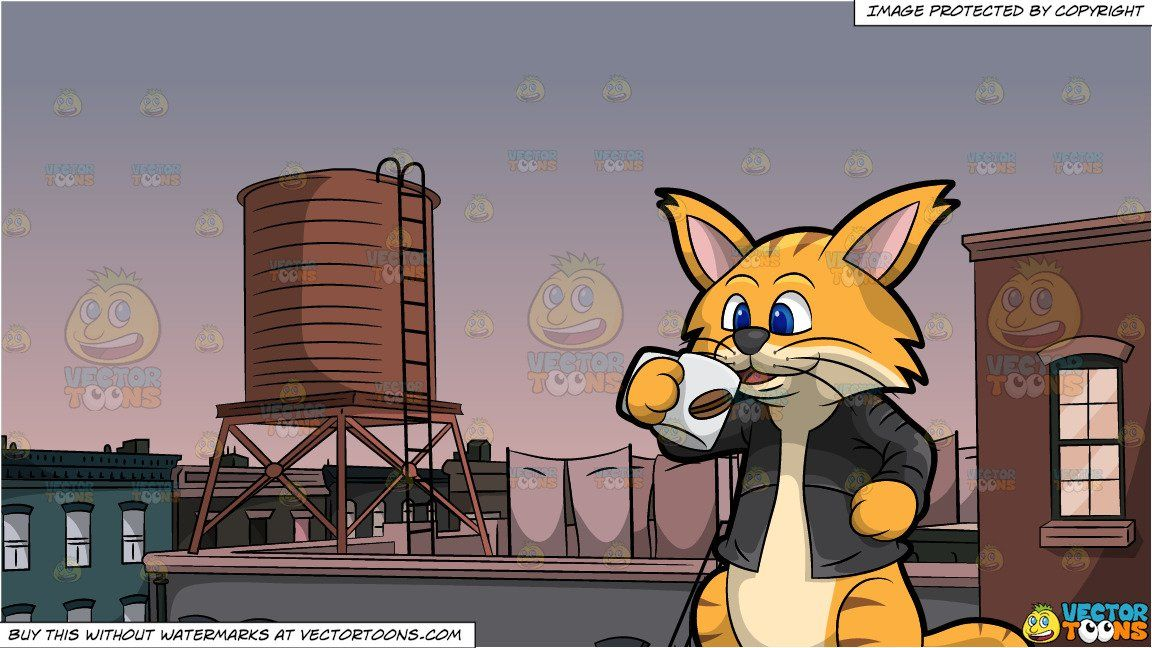 Clifford The Cat Drinking Coffee and Water Tower On Roof