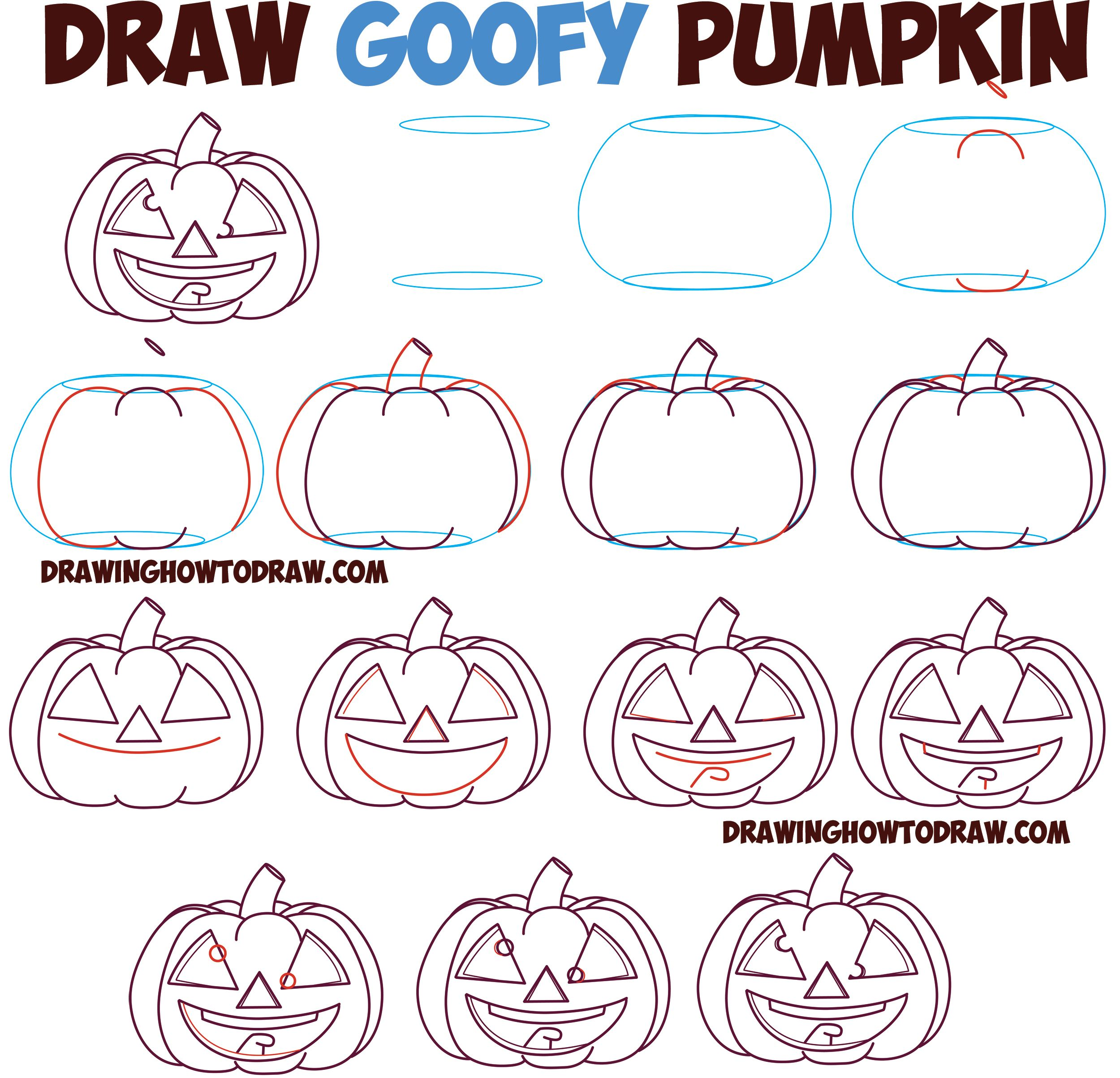 Huge Guide To Drawing Cartoon Pumpkin Faces Jack O Lantern Faces Expressions Emotions Easy Step By Step Drawing Tutorial For Kids On Halloween Drawing Tutorials For Kids Anime Drawing